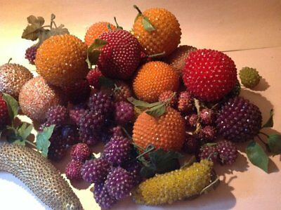 Vintage BEADED FRUITS Large LOT Apples GRAPES Bananas Holiday DECOR 70's