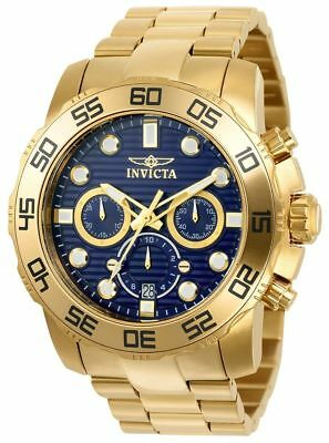 Invicta Men's 50mm Pro Diver Chronograph Blue Dial Gold Tone SS Watch 22228