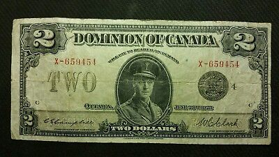 "1923 Dominion Of Canada Large $2 ""X"" Serial Number Banknote"
