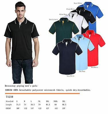 Men's breezeway contrast piping polo shirts S,M,L,XL,XXL,XXXL