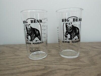 Vintage Big Bear Grocery Store Measuring Glass Cups (2)