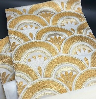 "STUNNING Japanese Wedding OBI Ivory White Gold Metallic Brocade 11-1/2"" x 157"""