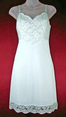 Vanity Fair~Lace on Sheer Trim Vintage Full Slip~Soft Mint~34