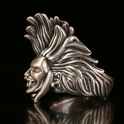 925 Silver Handmade Devil Statue Carving Ring Fashion Exclusive Customization