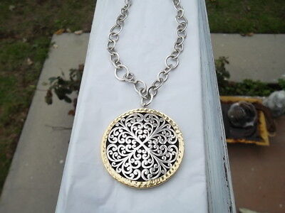 """LOIS HILL 2-tone geo scroll pendant sterling silver 33"""" long chain necklace 67g"""