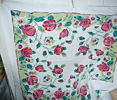 Vintage Tablecloth 1950 Floral Retro Green White Daisy Red Peony Martex 54x48