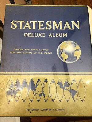 STATESMAN Deluxe Album LOT Of Stamps Antique Vintage World Hundreds Of Stamps