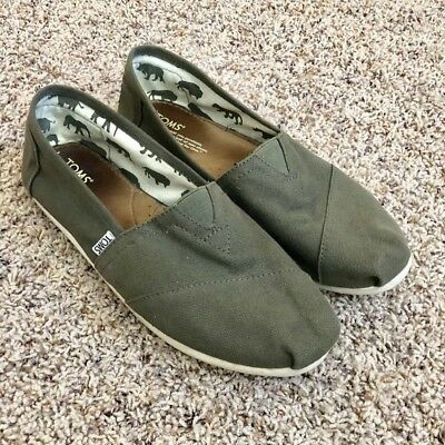 Toms Classic Dark Olive Green Slip On Shoes Wm Sz 10, Vguc