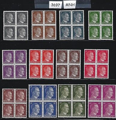 #3697  ***SPECIAL***  12 MNH Adolph Hitler Third Reich stamp blocks Nazi Germany