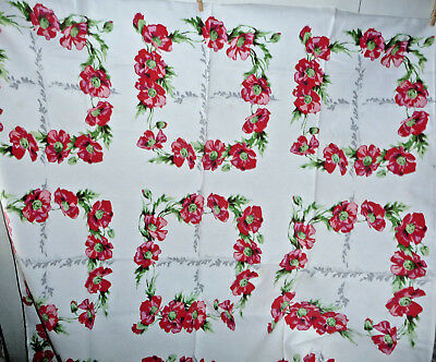 Vintage Tablecloth 1950 Floral Retro Green White Red Poppies 54x48 Minor Stains