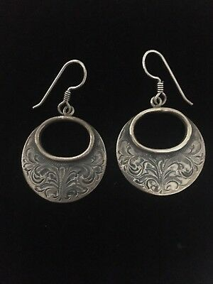 Engraved Sterling Silver Earrings By Vogt Silversmiths