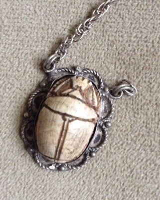 Vintage Egyptian Carved Scarab .925 Pendant 1950s