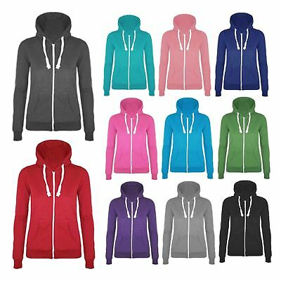 New Kids Boys Girls Plain Coloured Zip Up Hoodie Sweatshirt Hoody Hooded Jacket