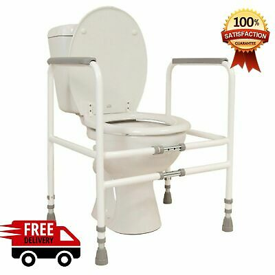 Disabled Toilet Frame - Free-Standing Mobility Bathroom Safety Aid Adjustable UK
