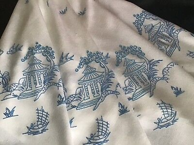 Beautiful Vintage Hand Embroidered Large Tablecloth ~ Blue Willow Design