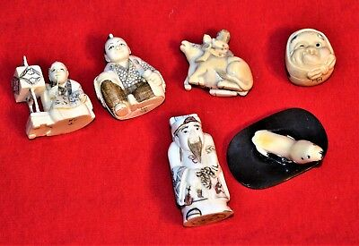 Authentic Signed Carved Japan Japanese Netsuke Figures LOT