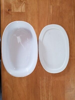 Corning Ware French White - Oval Individual Casserole - 1 Plastic Lid - Preowned