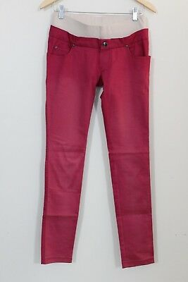 5a43ff697f4 Mothers en Vogue Womens Maternity Jean Skinny Cherry Belly Band Size XS S