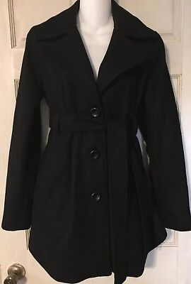 Liz Lange Maternity Coat Peacoat Winter Style Wool Blend Lined Black S Small EUC