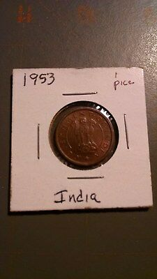 world coins, India, 1953, 1 pice