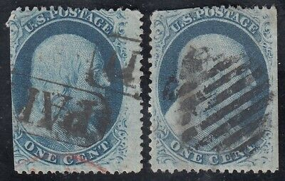 TDStamps: US Stamps Scott#24 (2) 1c Franklin Used CV$80.00
