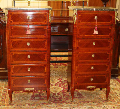 Rare large Pair Tall French Lingerie Chests Dressers Marble Tops C1910 RESTORED!
