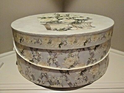 Hat Box Large Yellow Floral Storage Accessories Hand Bags Belts Make-up 16 X 7
