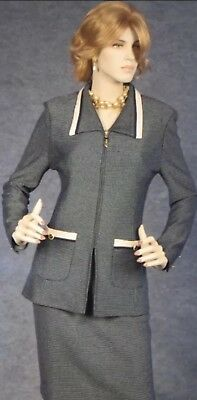 St. John Collection By Marie Gray Skirt Suit Jacket Size 8 Blue Navy Cream Trim