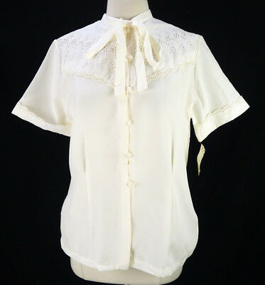 NOS Vintage 70s Ivory Eyelet Blouse L Tie-Neck Embroidered Ascot Bow Deadstock