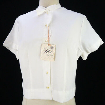 NOS Vintage 60s White Pilot Blouse L Strawberry Embroidery Pinup Crop Deadstock