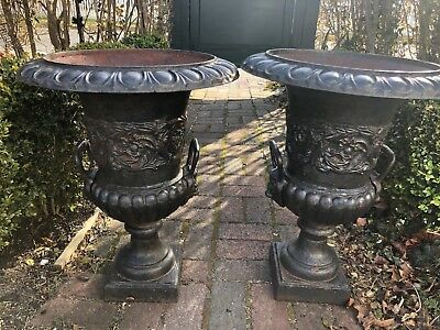Pair Two HTF Antique Old Vintage Cast Iron Planters Urns Garden w/Handles NICE!