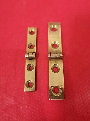 Pair of brass strap hinges for vintage or antique writing slope. Different sizes