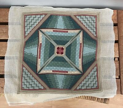 Geometric Pattern Design Cushion Needlepoint Tapestry Completed 32cm Square