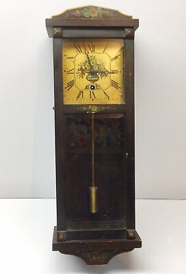 """American Antique Wall Clock 17"""" Floral Time Only Rare Sessions New Haven Gilbert"""