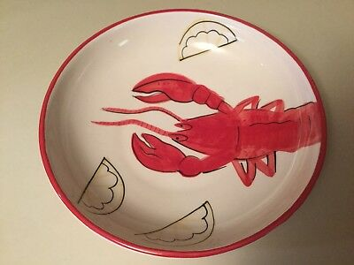 Home By Design Red Striped Ceramic Lobster Serving Bowl