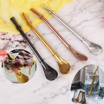 1pc Stainless steel drinking tea yerba mate straw gourd bombilla filter spoon AU