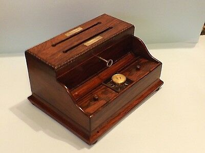 Antique Victorian ~ Rosewood Stationary / Writing Box ~ With Secret Compartment