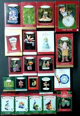 Lot of 21 - CHRISTMAS Ornaments -HALLMARK, Carlton, MERRY MINIATURES, Angel Bell