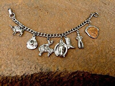Vintage Silver Plate Texas Charm Bracelet Small Adult Or Child Cowboy Western