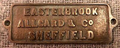 Rare Original Antique Brass Plaque Easterbrooke Allcard & Co Sheffield C1880