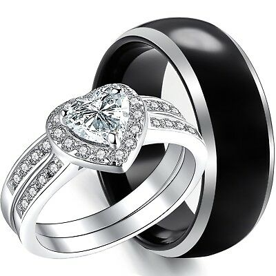 3PCS Mens BLACK TUNGSTEN & Womens STAINLESS STEEL Heart Engagement Wedding Rings