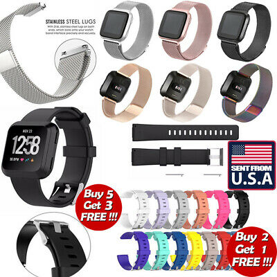 US Replacement Silicone Milanese Stainless Steel Watch Band For Fitbit Versa se