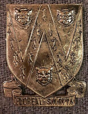 Cast Brass Plaque Shropshire Coat Of Arms