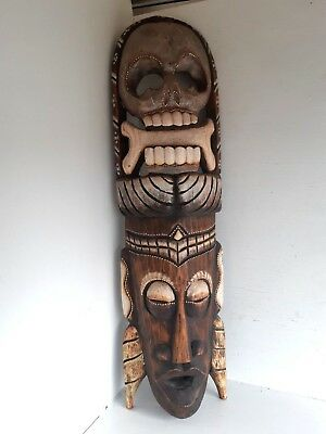 Large Antique Vintage Carved Wooden African Pirate Face Mask Wall Hanging