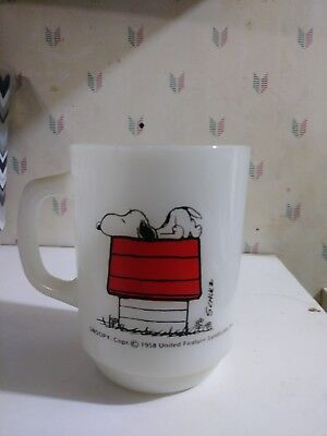 Vintage Fire King Peanuts Snoopy I Think I'm Allergic To Morning Mug