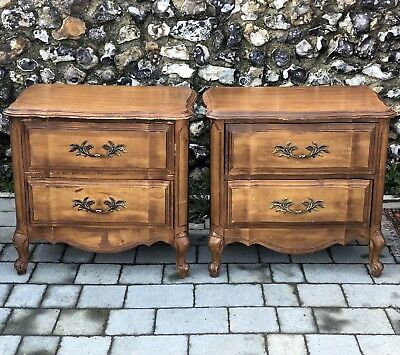 Pair Of French Antique Walnut Two Drawer Bedside Chests