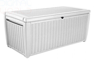 Keter Rattan Style Outdoor Plastic Storage Pool Box Garden Furniture 145x73x64cm