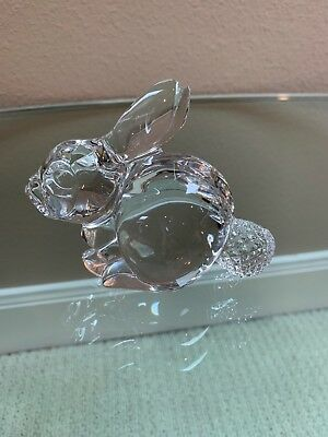 Waterford clear crystal Bunny w cut crystal tail from Ireland signed w box