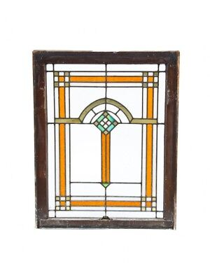 Prairie Style Bungalow Leaded Art Glass Window Accentuated With Gold Leaf