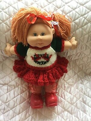Cabbage Patch Kid Doll Dress Set. Red Knit/crochet.no Doll.